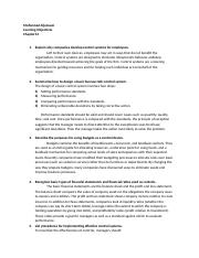 Learning Objectives Chapter 14,15.docx