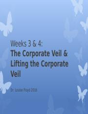 Weeks 3 & 4 Corporate Veil Lifting the Corporate Veil