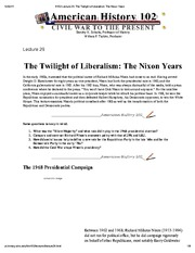 H102 Lecture 29_ The Twilight of Liberalism_ The Nixon Years
