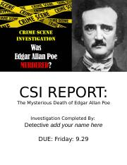 CSI Research Project - The Msyterious Death of Edgar Allan Poe1.pptx
