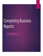 Completing Business Reports