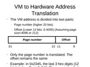 VM to Hardware Address Translation