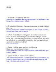 Select the false statement below. national response framework fema
