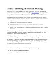 Critical Thinking in Decision Making (1).docx