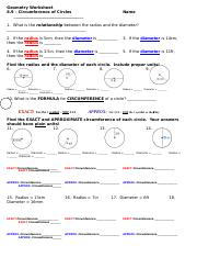 8.9 Worksheet - Circumference 13-14