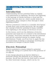 9.5.1 - Lesson Map - Electric Potential and Energy