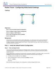 2.2.3.3 Packet Tracer - Configuring Initial Switch