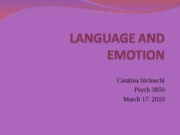 LANGUAGE AND EMOTION lecture