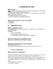 Sources of Law & Legal System - Student Notes
