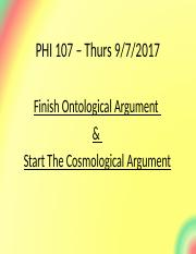 PHI107.Lect.9.7.17.  end of Ontological & start Cosmological.ppt