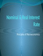Nominal & Real Interest Rate