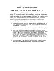 Week 4 Written Assignment MBA 6090 BUSINESS RESEARCH.docx