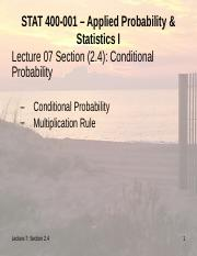 Stat 400 Lecture 07,  Chap 2.4,  Conditional Probability