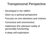 Transpersonal Perspective