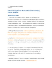 Ethical Principles for Medical Research Involving Human Subjects