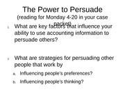 Questions - The Power to Persuade