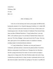 Midterm Essay - literature of confinement