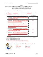Work Packet Solutions Work Energy And Power Name Work Read