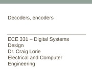 Lecture #15 - Decoders and Encoders