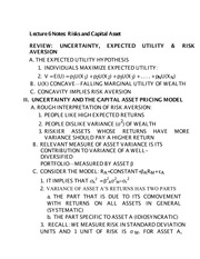 Lecture 6 Notes Risks and Capital Asset