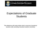 Unit I PowerPoint Expectations of Graduate Students