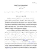 Research Proposal For Psychology 4099 Methods