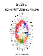 Lecture 2 - Taxonomy and Phylogenetic Principles