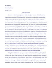 the kite runner essay faramoz saad mrs berrisford eng ui amirs  7 pages kite runner essay