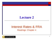 Lecture 2 Interest Rates & FRA