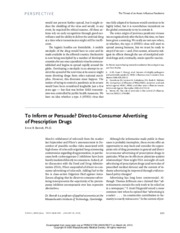 Berndt's To Inform or Persuade-Direct-to-Consumer Advertising of Prescription Drugs