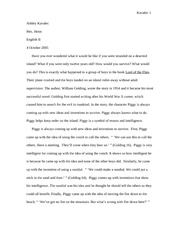 Piggy Lord of the Flies Essay