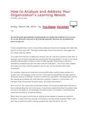 Shipley, F and Golden, P (2013) How to analyse and address your organisation's learning needs