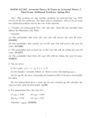 Math 472 Spring 2011 Final Exam Additional Problems