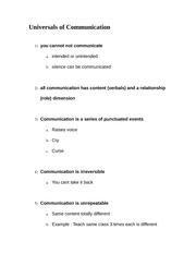 Universals of communication notes