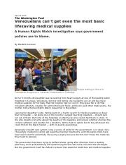 2015-04-30 WP Venezuelans can't get even the most basic lifesaving medical supplies