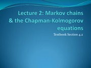 Markov Chains & the Chapman-Kolmogorov Equations