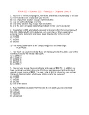 Quiz-ONE-Chapters 1 thru 4 - Summer 2011