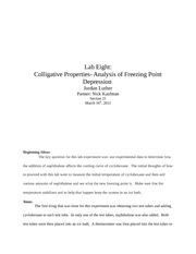 Colligative properties lab essay