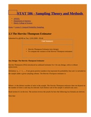 3.3 The Horvitz-Thompson Estimator   STAT 506 - Sampling Theory and Methods