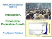 Bio 501.Lecture 1.Introduction, Exponential Pop Growth