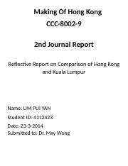 Making of Hong Kong Second Journal Report (Lim Pui Yan).docx