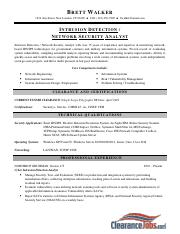 Intrusion Detection Network Security- Resume Sample