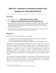 ENSC180 ASSIGNMENT 1 Basic Matlab Syntax Dr Ivan Bajic