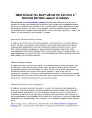 What Should You Know About the Services of Criminal Defence Lawyer in Calgary.PDF