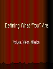 Lesson II- Values, Vision, and Mission