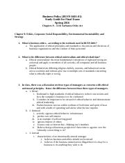 Final Study Guide - Business Policy