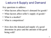 Lecture 4-Supply and Demand