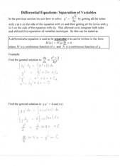 Differential Equation Separation of Variables Notes