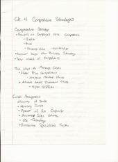 BUS ADM 482 Chapter 4 Lecture Notes on Competitive Strategies