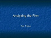 Analyzing the Firm
